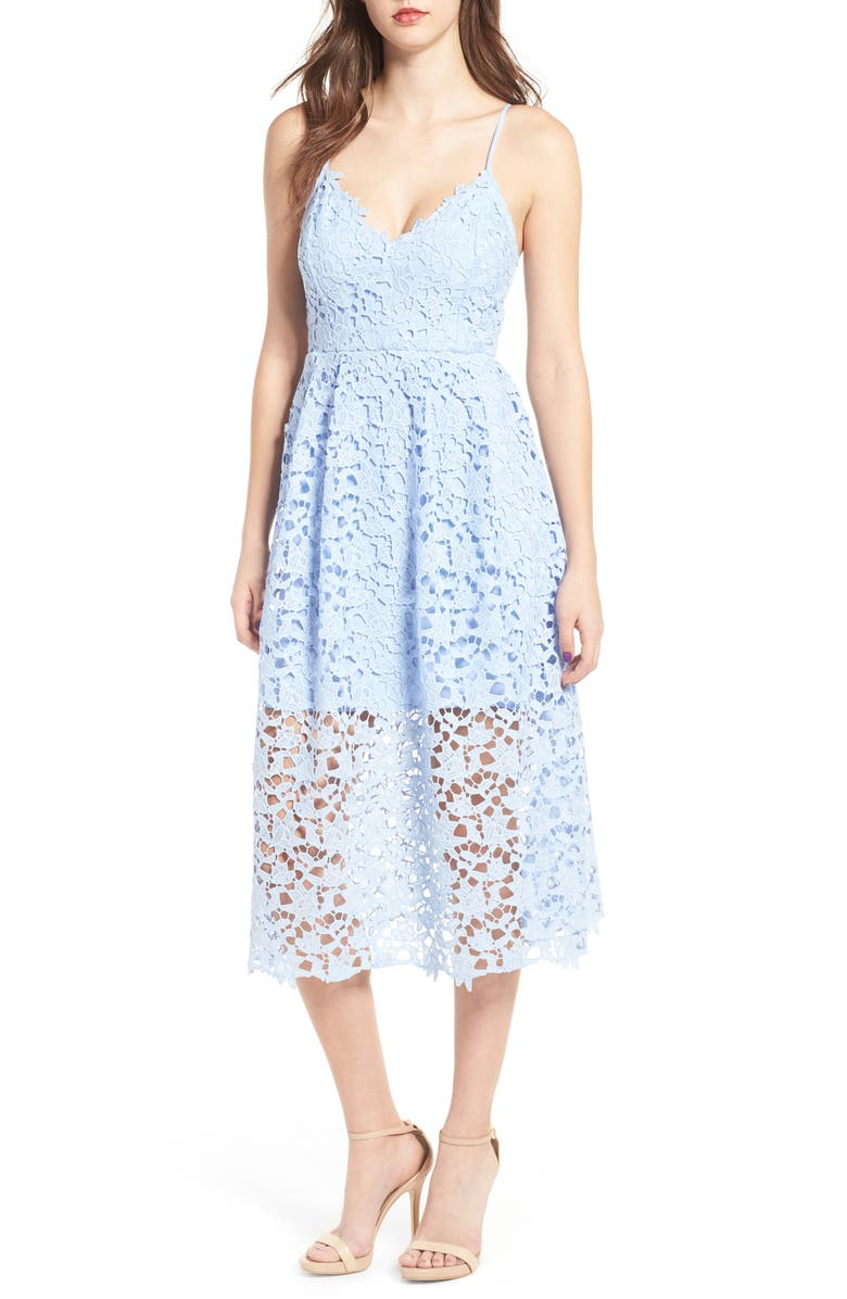 ASTR THE LABEL Lace Midi Dress, Main, color, PERIWINKLE