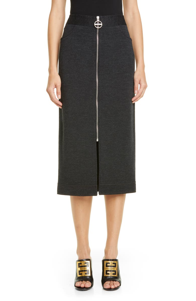 GIVENCHY Zip Front Mélange Wool Jersey Skirt, Main, color, DARK GRAY