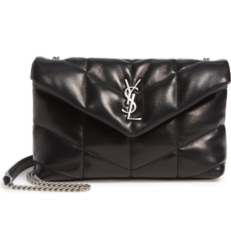 SAINT LAURENT Mini Loulou Puffer Crossbody Bag, Main, color, NOIR