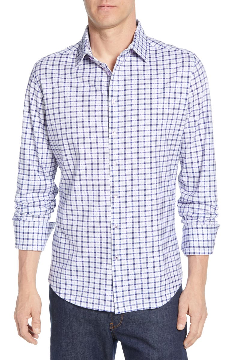 STONE ROSE Regular Fit Check Cotton Shirt, Main, color, PURPLE