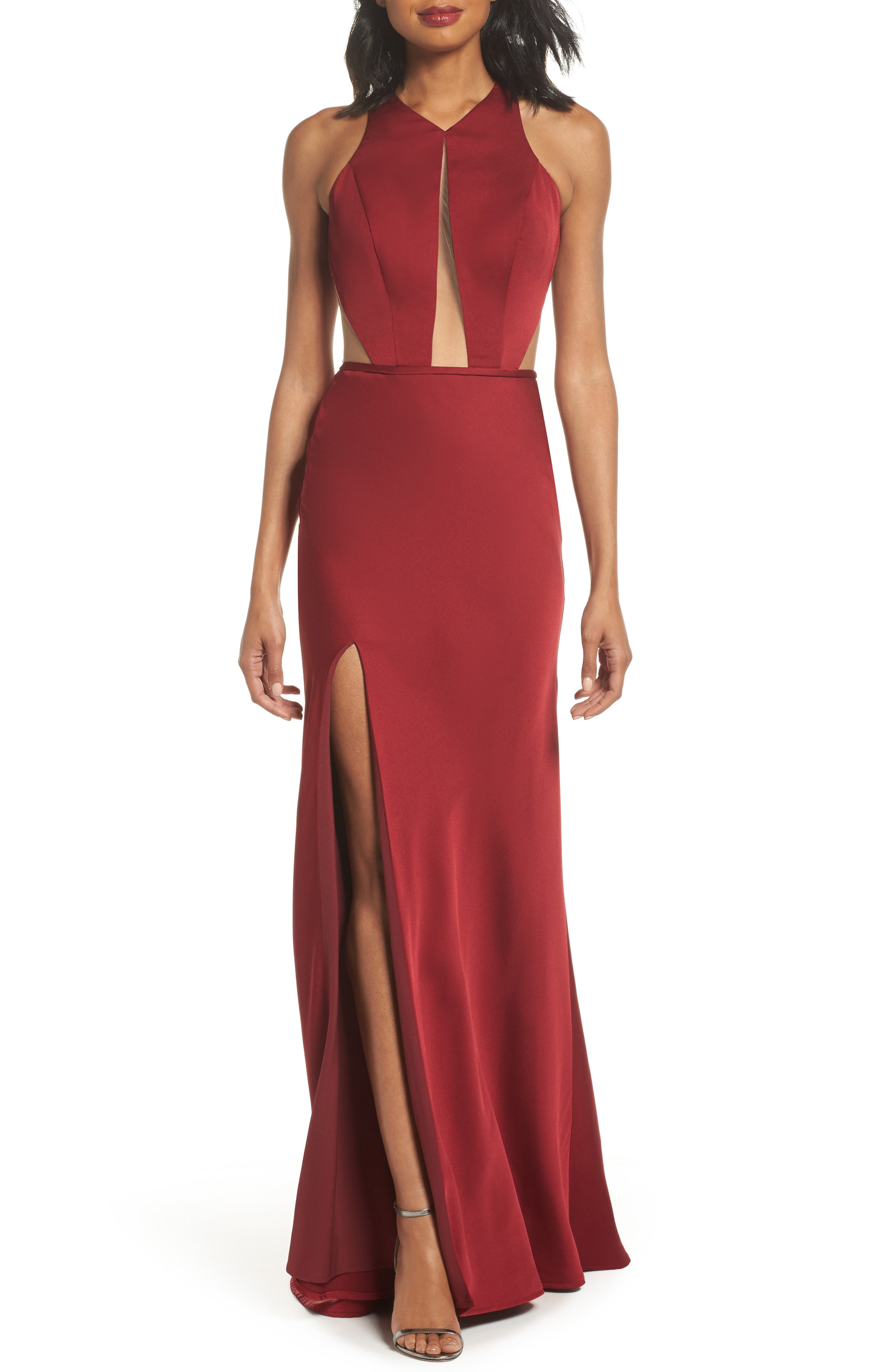 La Femme Cutout Detail Satin Gown, Burgundy
