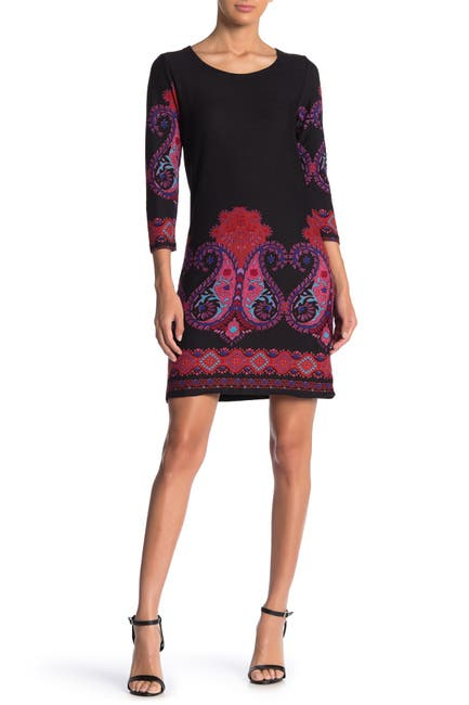 Image of Papillon Border Crew Neck Sweater Dress