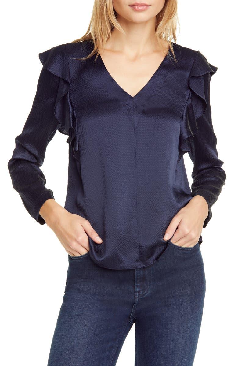 REBECCA TAYLOR Long Sleeve Ruffle Silk Top, Main, color, NAVY COMBO