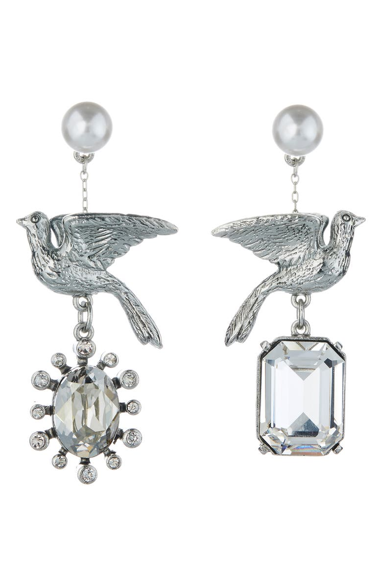 OSCAR DE LA RENTA Mismatched Dove Earrings, Main, color, SILVER