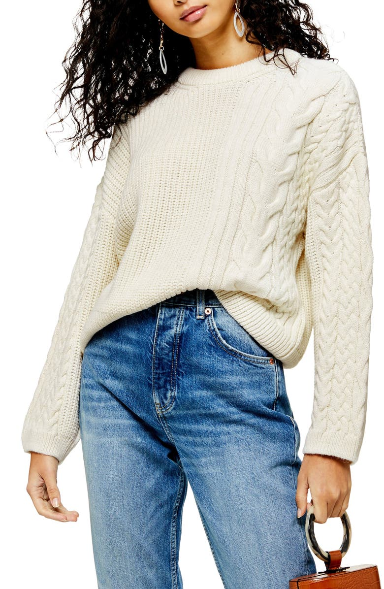 TOPSHOP Patch Cable Crewneck Sweater, Main, color, IVORY