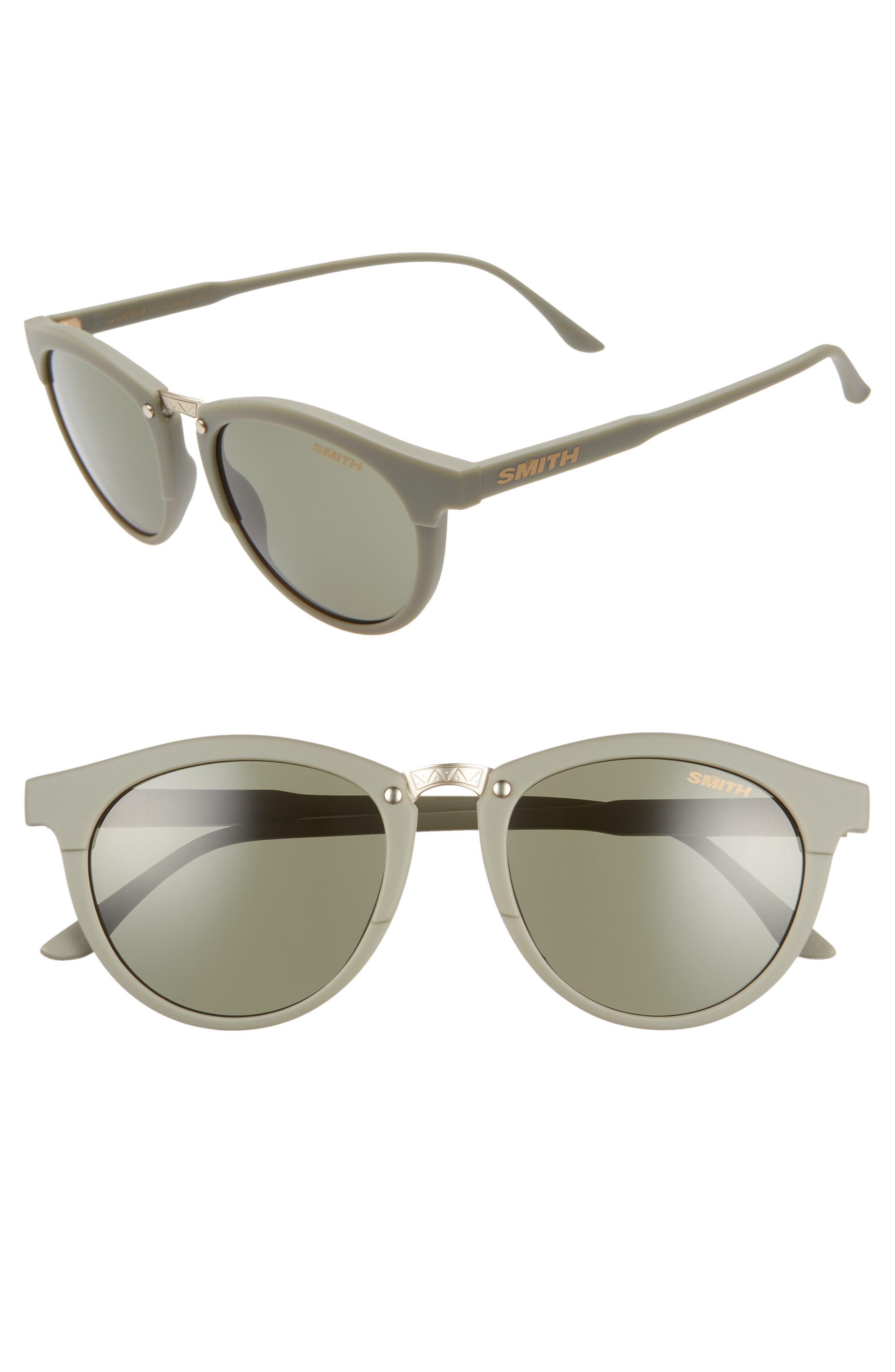 Questa 50mm ChromaPop<sup>™</sup> Polarized Round Sunglasses, Main, color, GREY/ MATTE SAGE