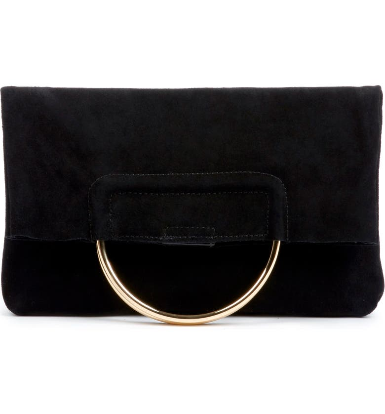 SOLE SOCIETY Suede Foldover Clutch, Main, color, 001