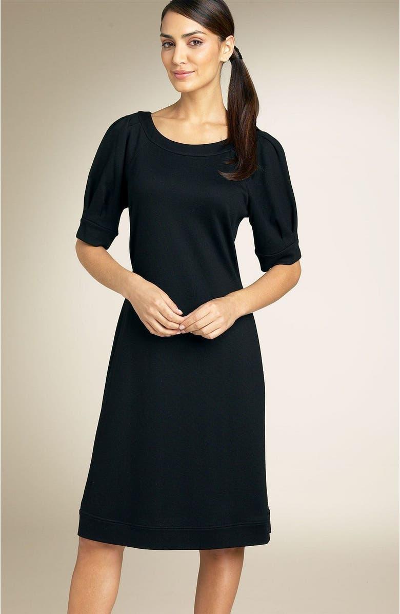 CALVIN KLEIN Puff Sleeve Ponte Knit Dress, Main, color, BLK
