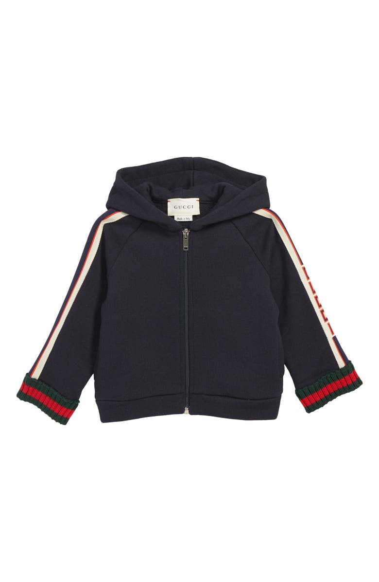 GUCCI Full Zip Hoodie, Main, color, URBAN BLUE/ GREEN/ RED
