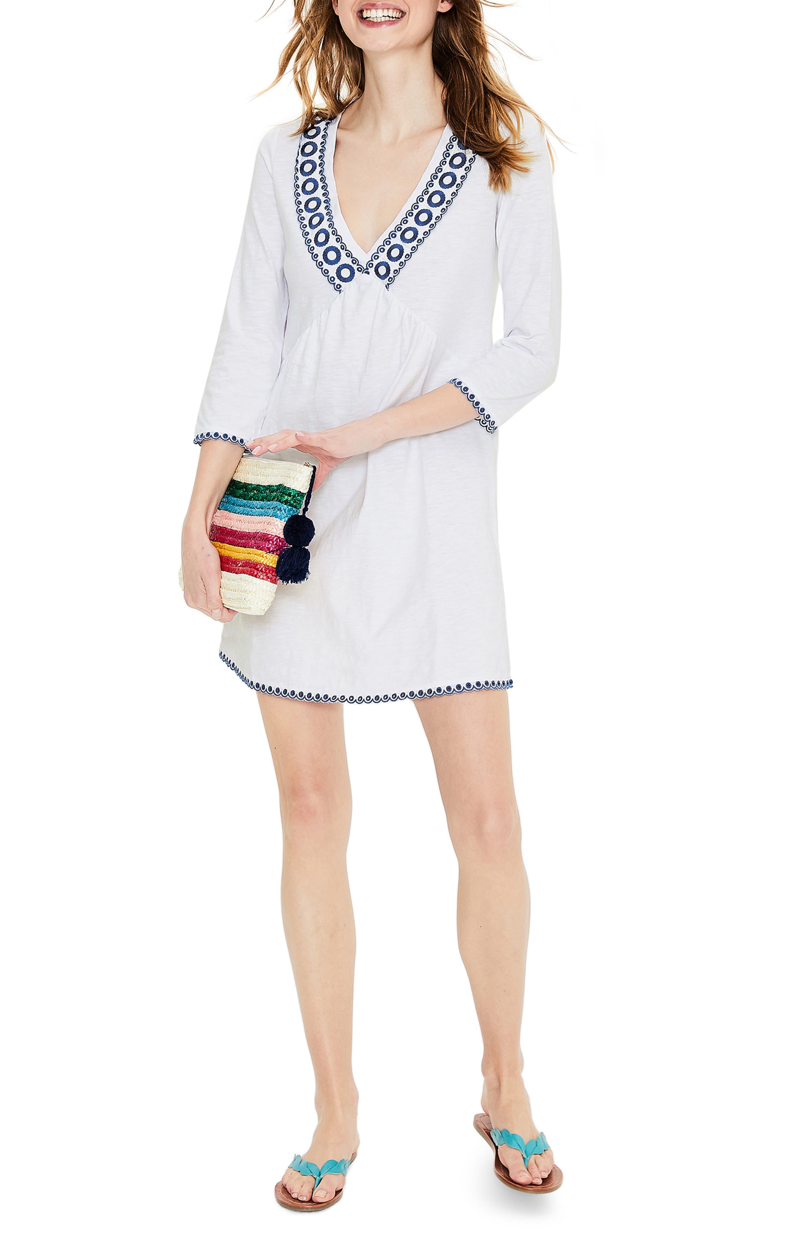 Rosanna Jersey Tunic, Main, color, WHITE/ COBALT