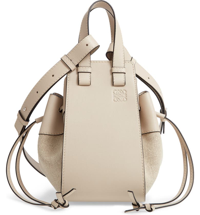 LOEWE Small Hammock Leather & Linen Hobo, Main, color, LIGHT OAT