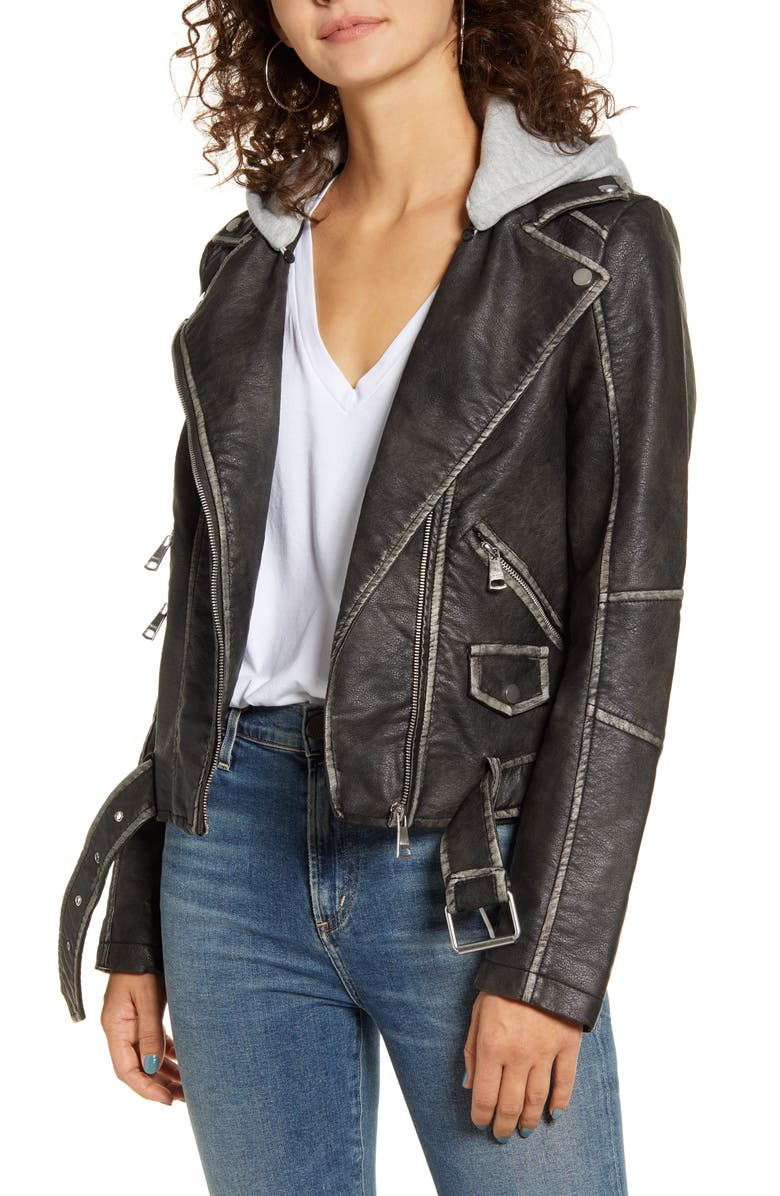 VIGOSS Hooded Washed Faux Leather Moto Jacket, Main, color, WASHED BLACK