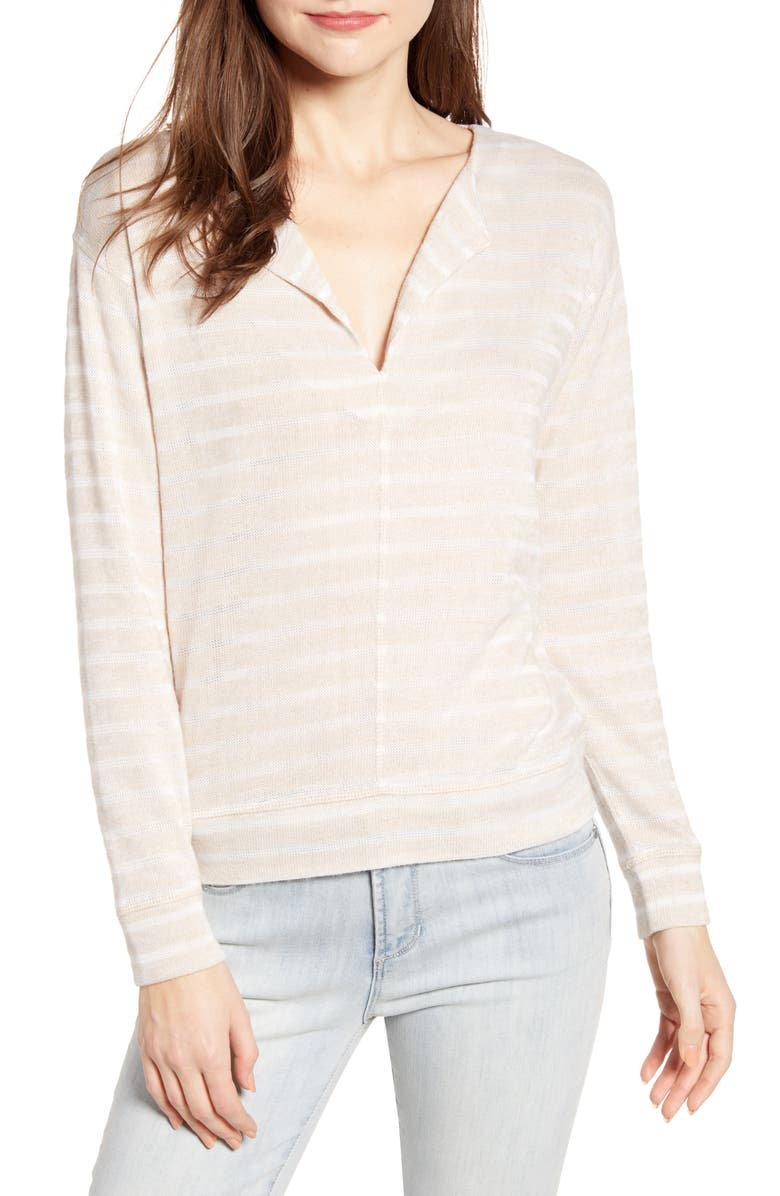 SOCIALITE Seam Front Stripe Sweatshirt, Main, color, 100