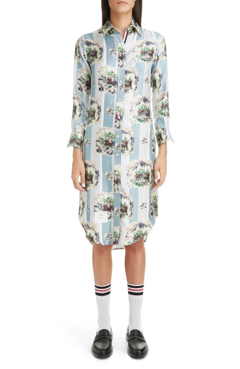 THOM BROWNE Horse Print Silk Shirtdress, Main, color, MED GREY