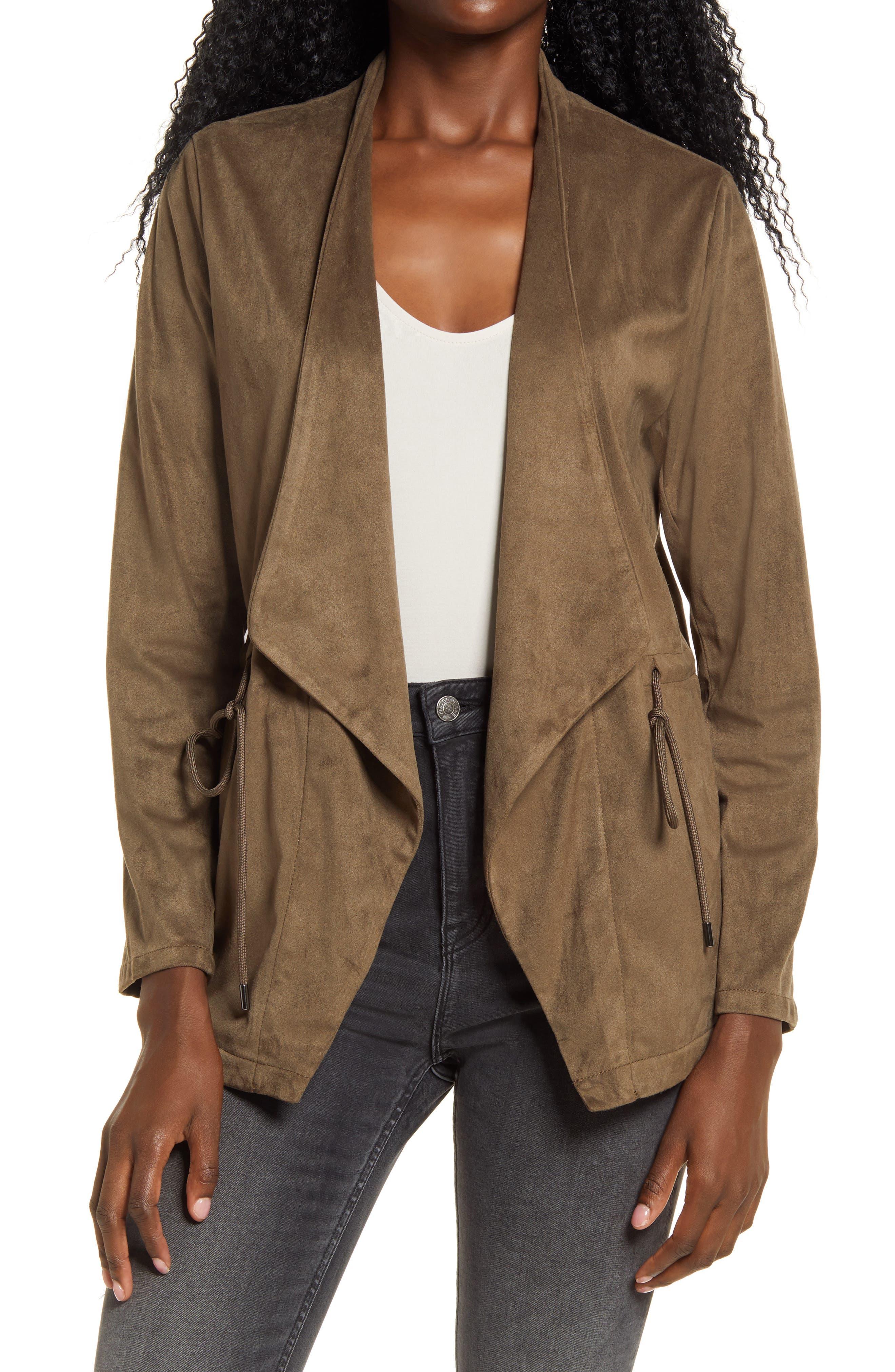 Women's Blanknyc Faux Suede Drapey Jacket, Size Medium - Grey