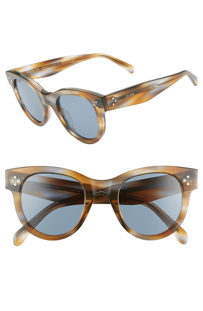CELINE 48mm Cat Eye Sunglasses, Main, color, STRIPED HAVANA/ BLUE
