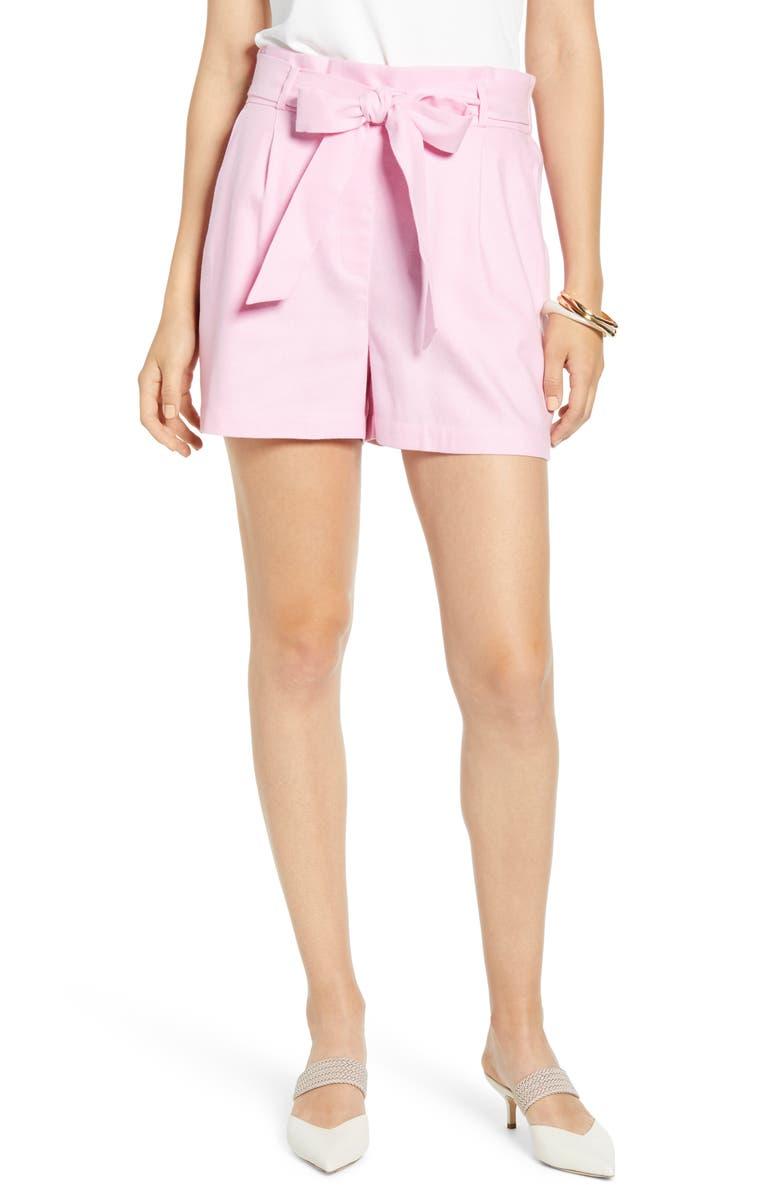 HALOGEN<SUP>®</SUP> Tie Paperbag Waist Shorts, Main, color, PINK PRISM