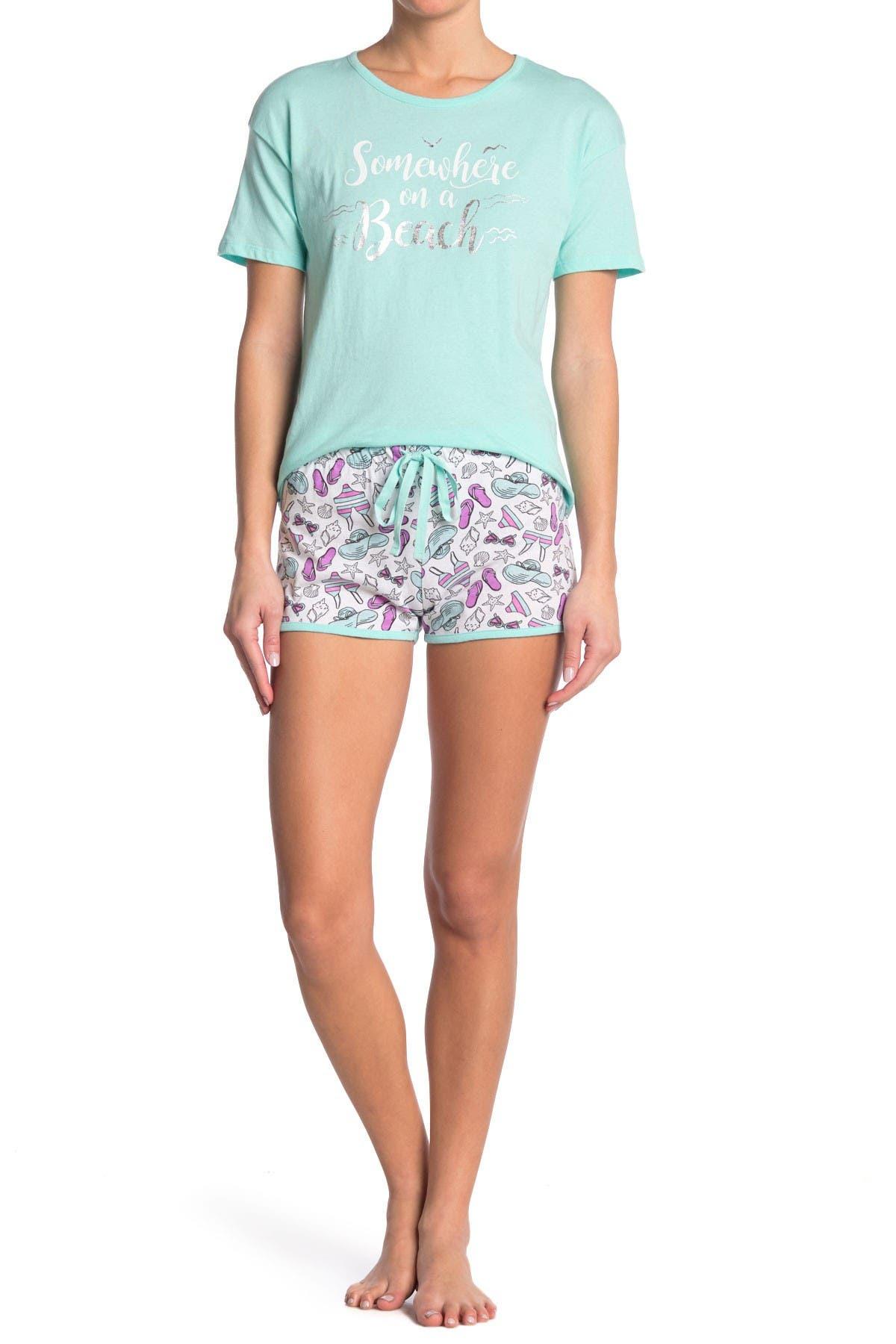 Image of DOLLHOUSE Somewhere On a Beach 2-Piece Pajama Set