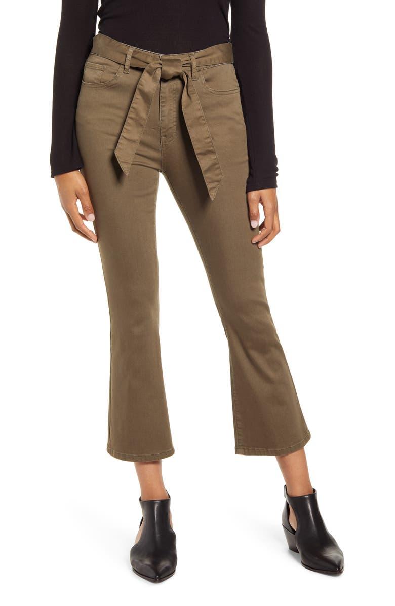 PROSPERITY DENIM Belted Crop Flare Jeans, Main, color, BURNT OLIVE
