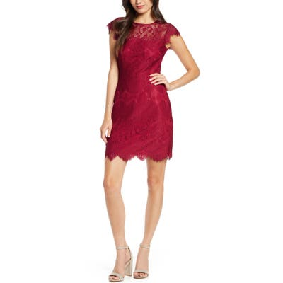 Bb Dakota Jayce Lace Sheath Cocktail Dress, Red