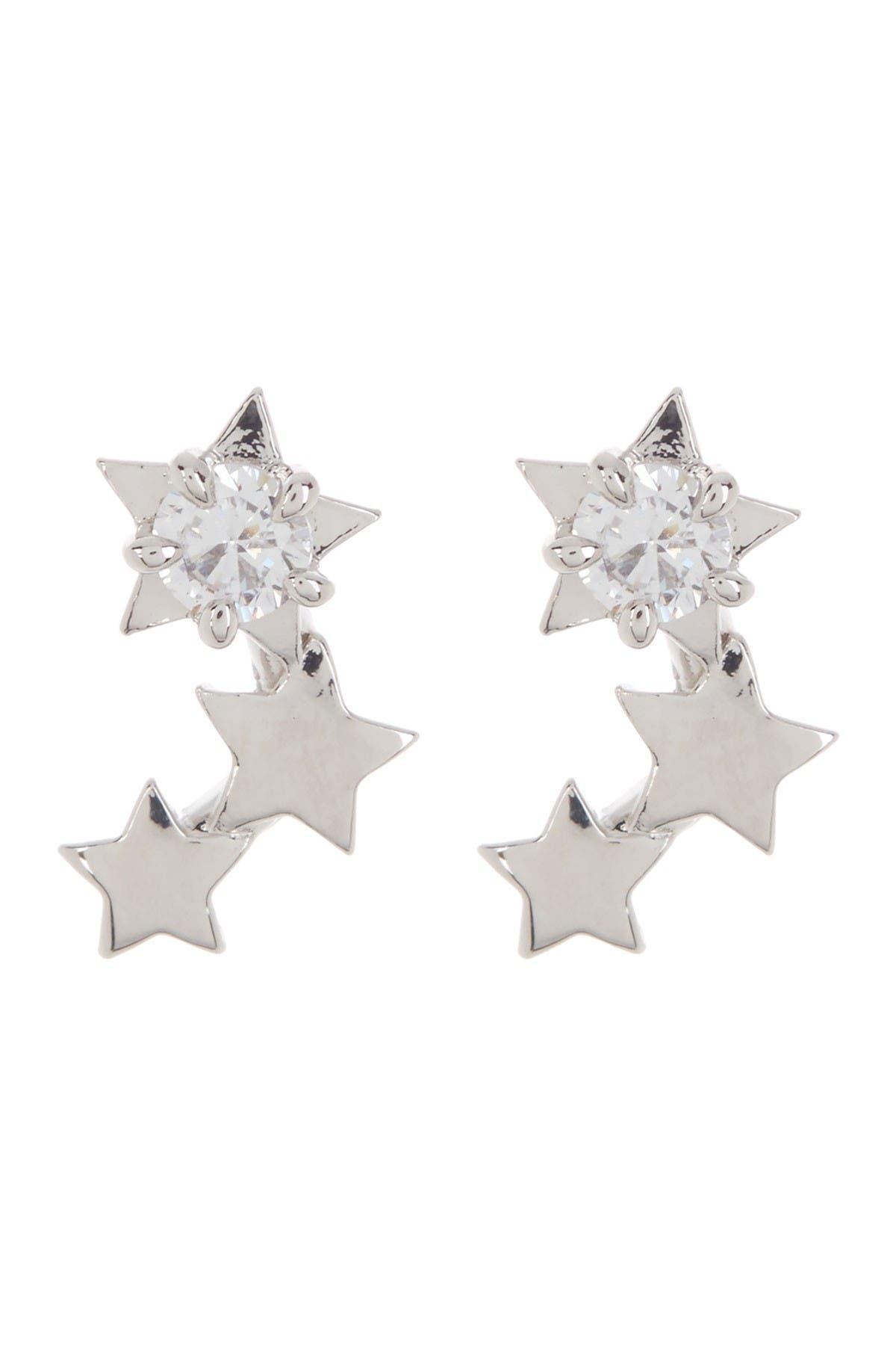 Image of NADRI Rhodium Plated Prong Set CZ Cluster Star Stud Earrings