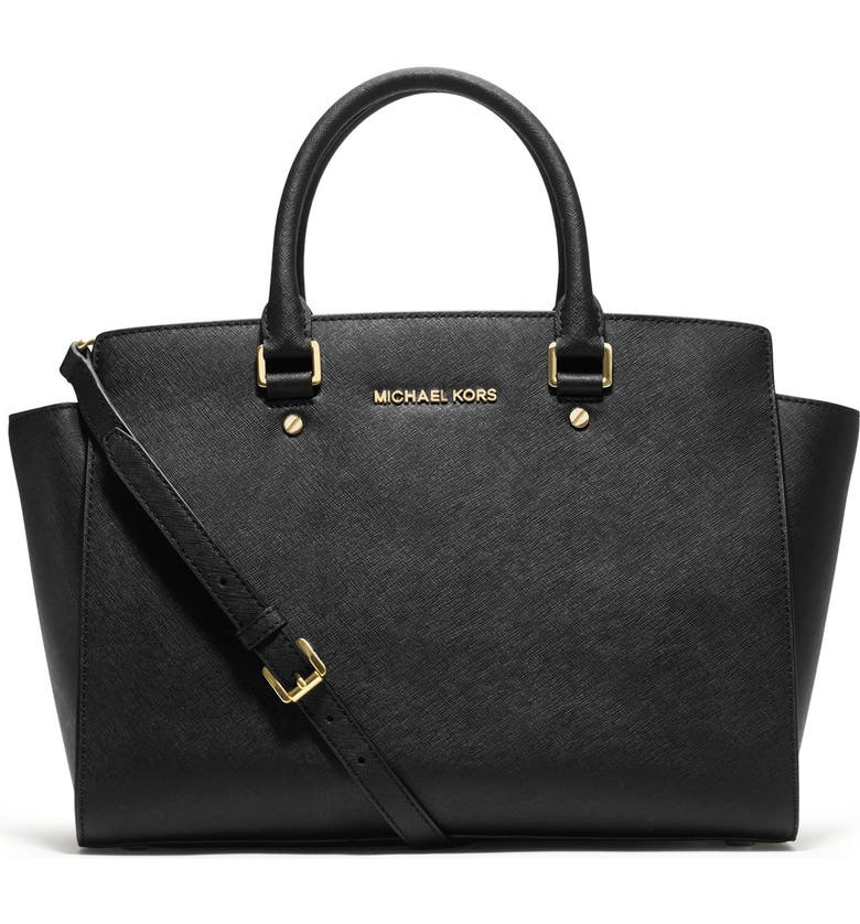 MICHAEL MICHAEL KORS 'Large Selma' Zip-Top Satchel, Main, color, 001