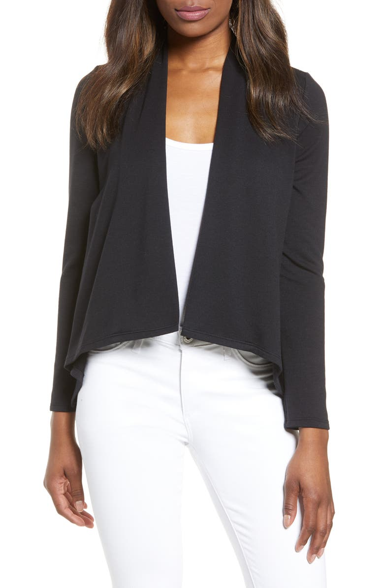 GIBSON High/Low Cardigan, Main, color, BLACK