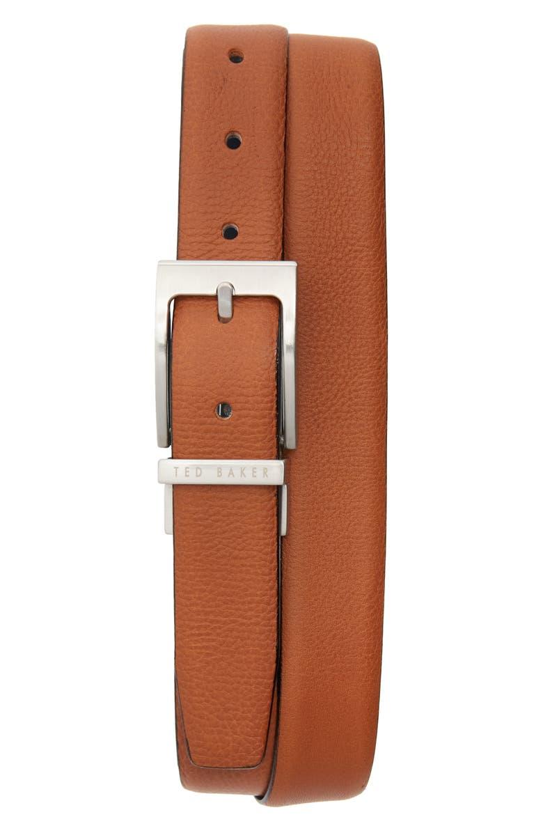 TED BAKER LONDON Reversible Leather Belt, Main, color, TAN