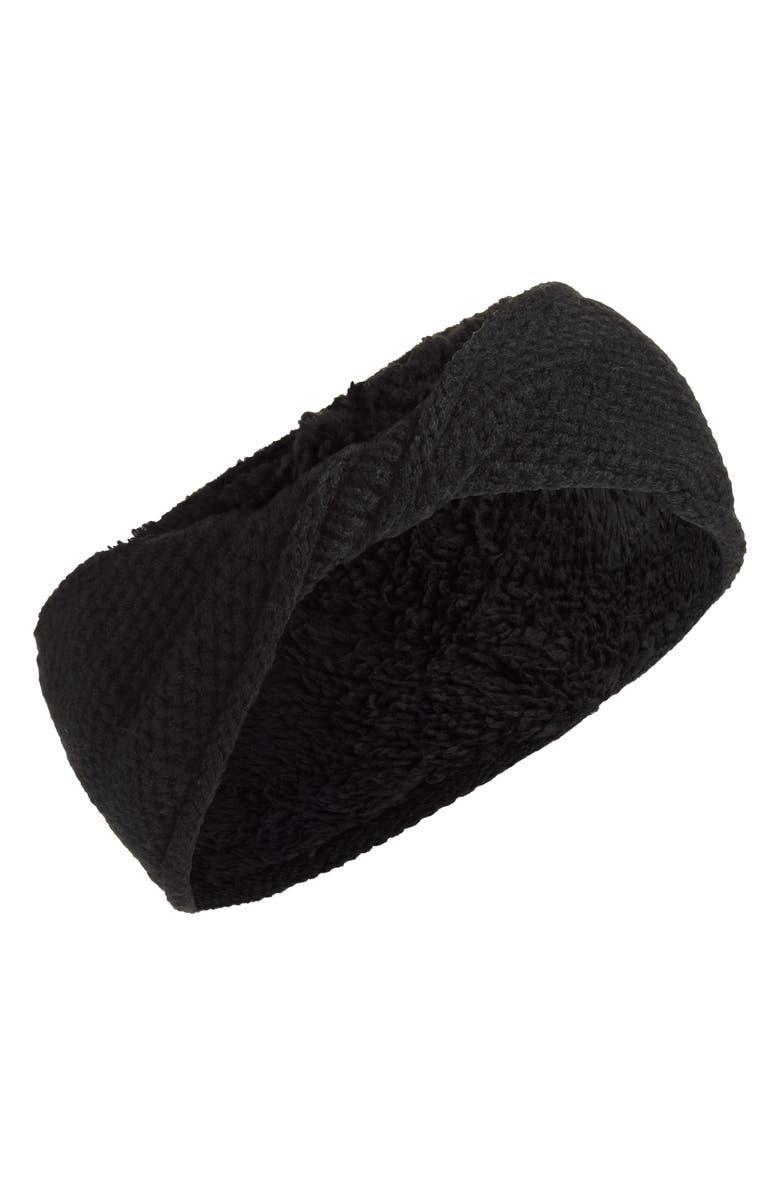 TREASURE & BOND Twisted Knit & Fleece Head Wrap, Main, color, BLACK