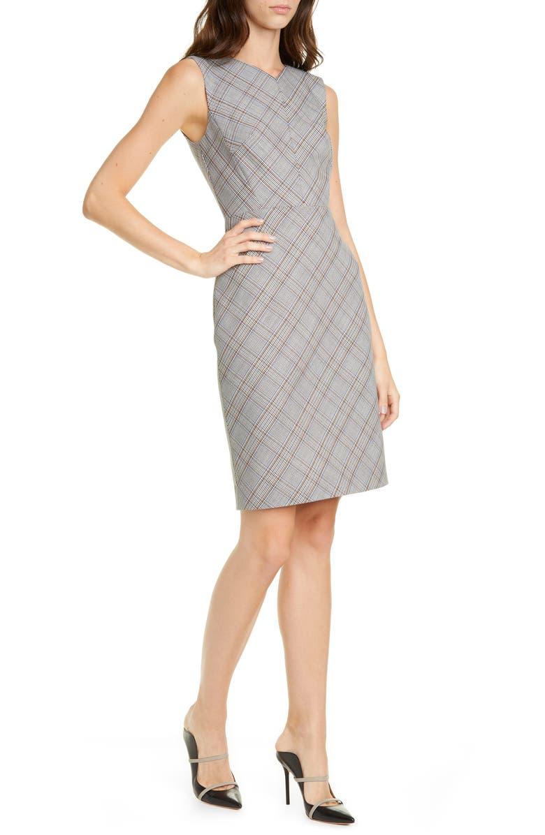 TAILORED BY REBECCA TAYLOR Plaid Sleeveless Sheath Dress, Main, color, ROBINS EGG COMBO