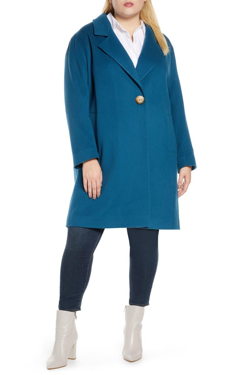 FLEURETTE One-Button Wool Coat, Main, color, PETROL