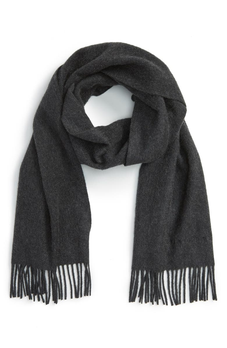 BURBERRY Solid Cashmere Scarf, Main, color, 021