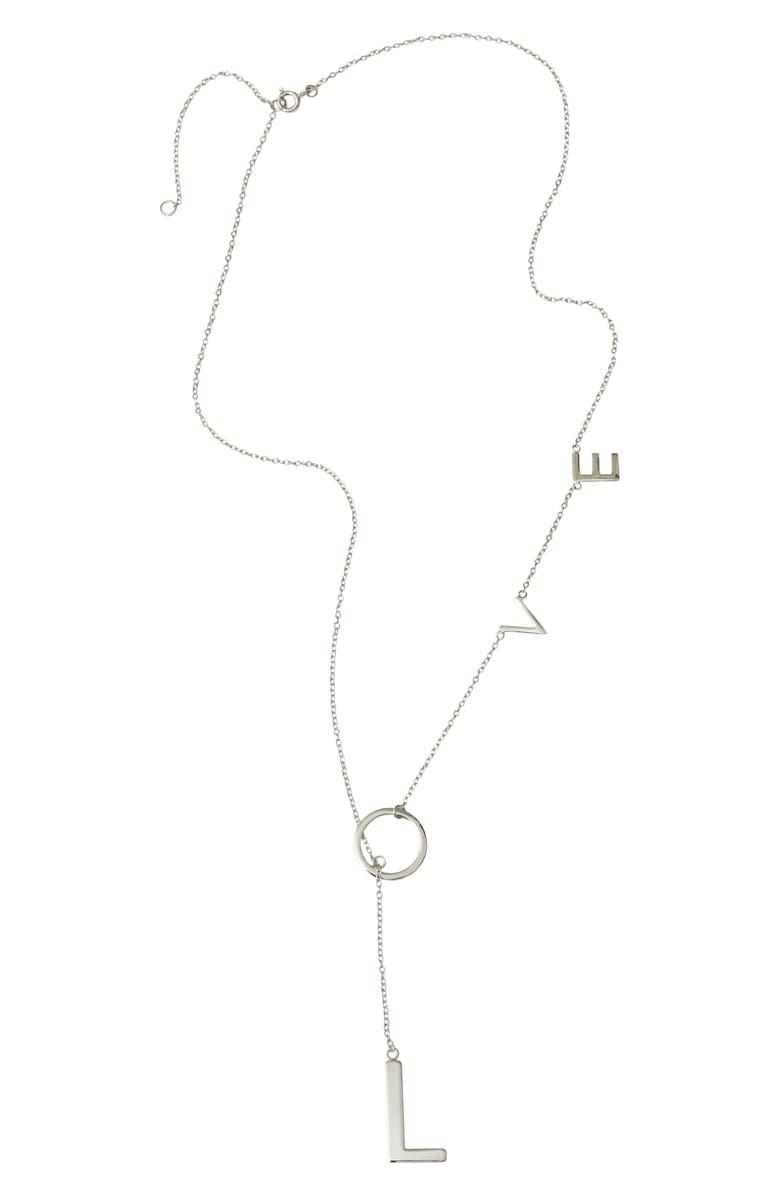 ADORNIA Love Lariat Necklace, Main, color, SILVER