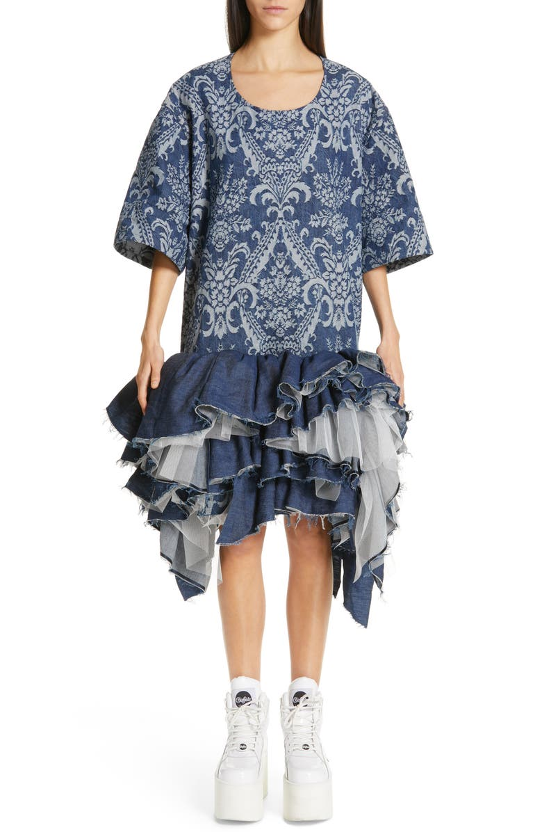 JUNYA WATANABE Denim Jacquard Tulle Dress, Main, color, 400