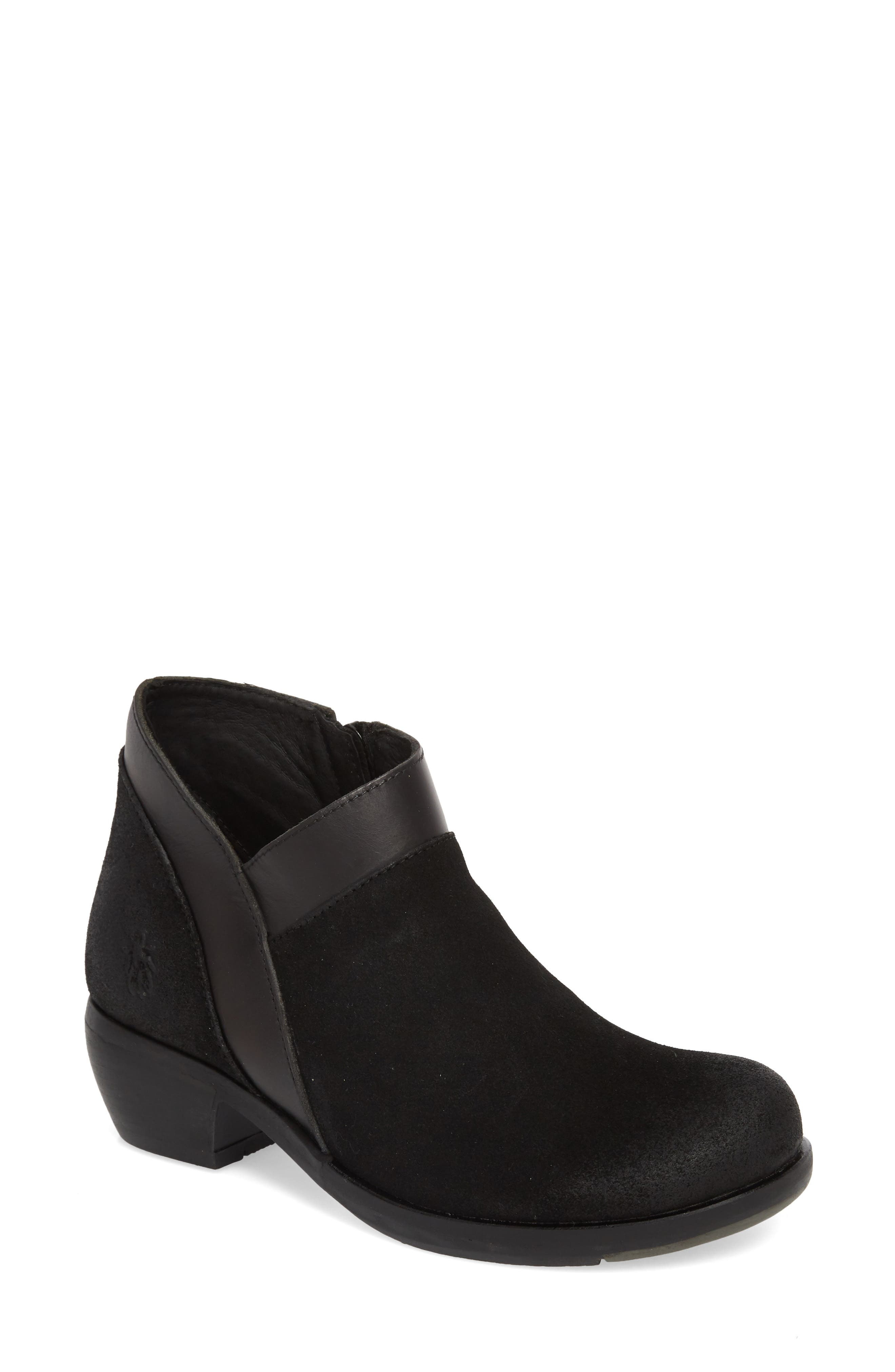 Fly London Meba Mixed Media Bootie - Black