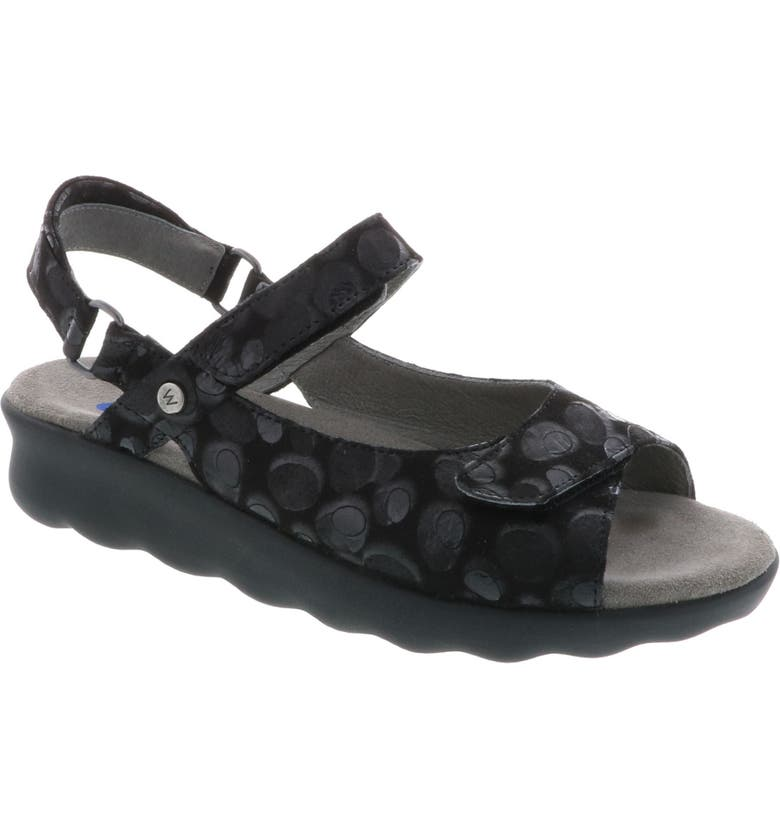 WOLKY Pichu Quarter Strap Sandal, Main, color, BLACK CIRCLE PRINT