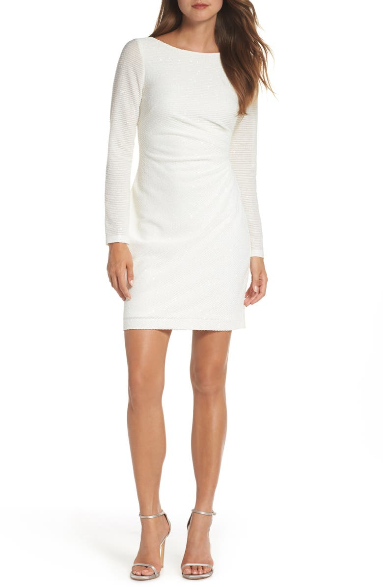 VINCE CAMUTO Sequin Knit Dress, Main, color, IVORY