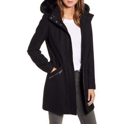 Kenneth Cole New York Wool Blend Twill Hooded Coat With Faux Fur Trim, Black