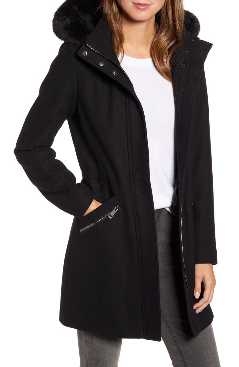 KENNETH COLE NEW YORK Wool Blend Twill Hooded Coat with Faux Fur Trim, Main, color, 001