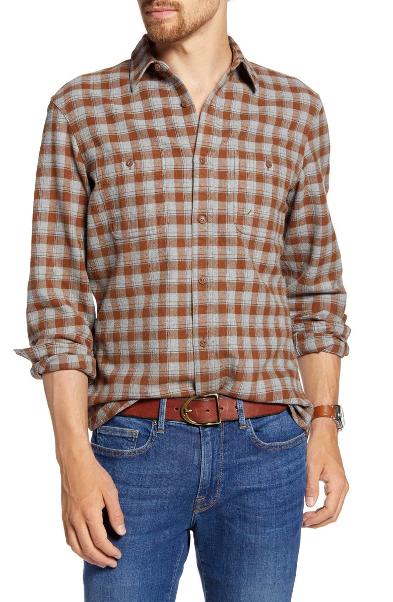 1901 Trim Fit Plaid Flannel Button-Up Shirt, Main, color, GREY HEATHER BROWN CHECK