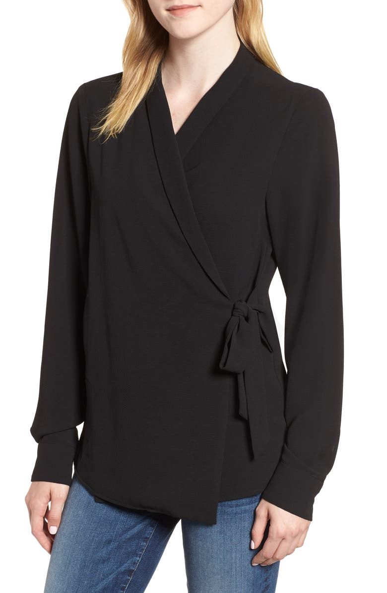 BOBEAU Side Tie Wrap Top, Main, color, BLACK
