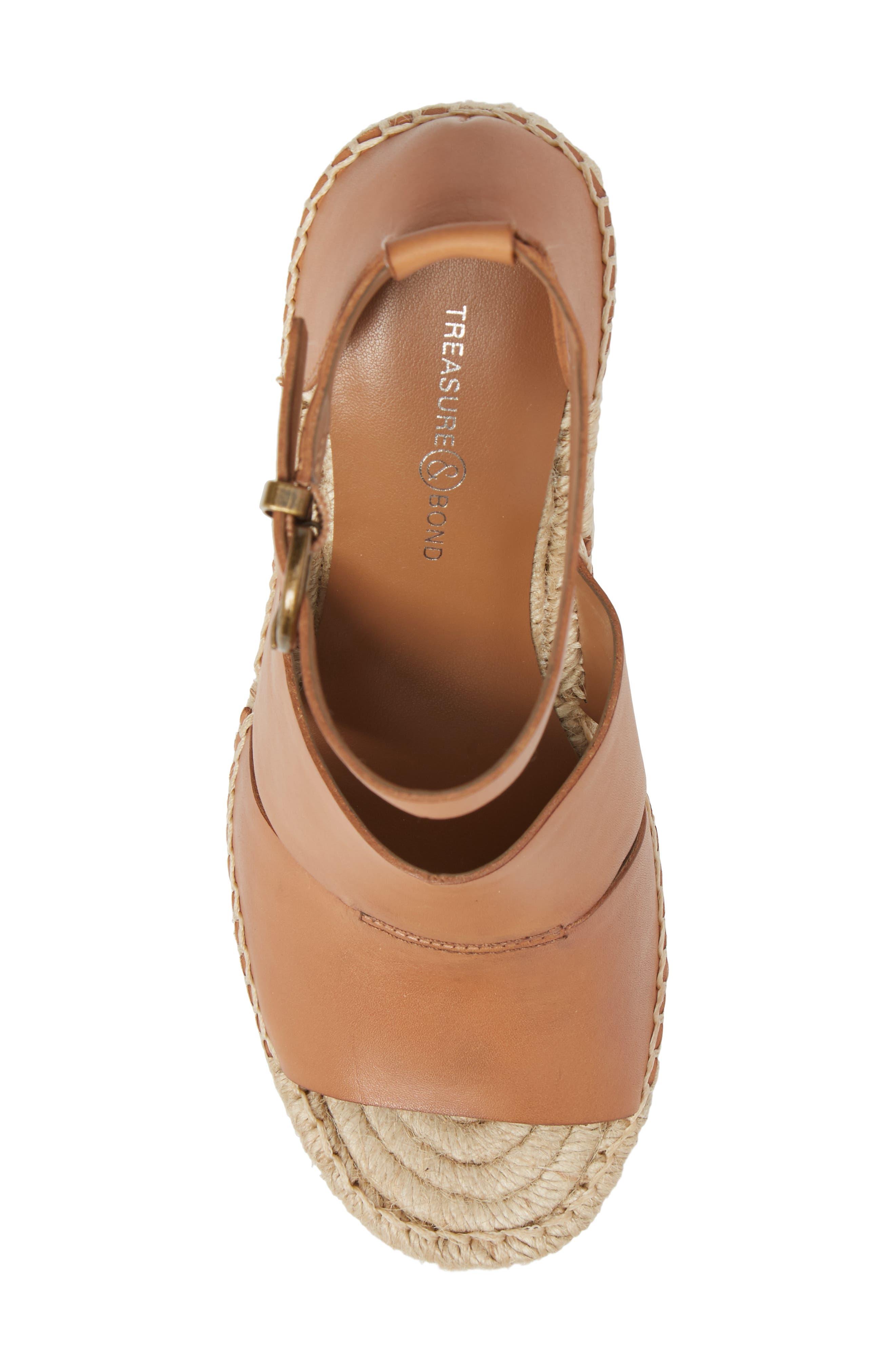 ,                             Sannibel Platform Wedge Sandal,                             Alternate thumbnail 5, color,                             TAN LEATHER