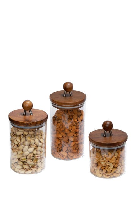 Image of Honey-Can-Do Acacia Glass Canisters - Set of 3