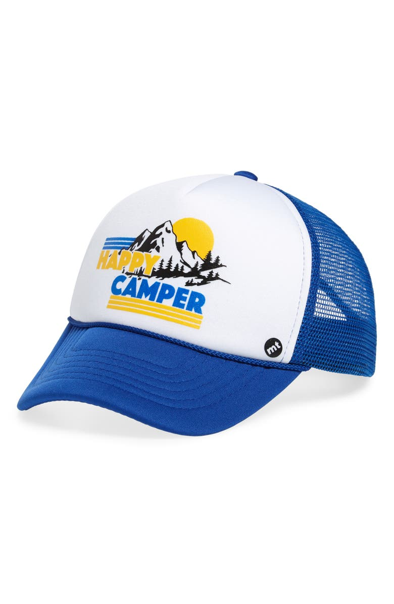 MOTHER TRUCKER & CO. Happy Camper Trucker Hat, Main, color, ROYAL/ WHITE