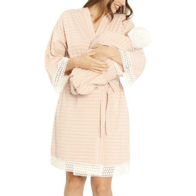 Angel Maternity Ruby Maternity/nursing Sleep Shirt, Robe & Baby Blanket Set, /XX-Large - Pink