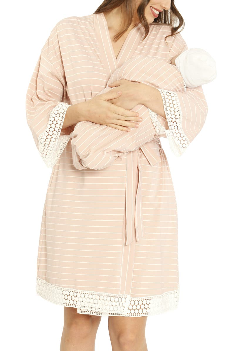 ANGEL MATERNITY Ruby Maternity/Nursing Sleep Shirt, Robe & Baby Blanket Set, Main, color, PINK