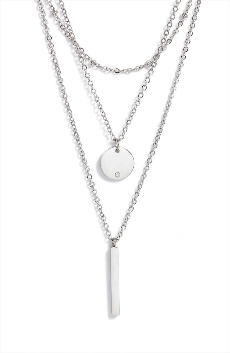 KNOTTY Triple Layered Pendant Necklace, Main, color, RHODIUM