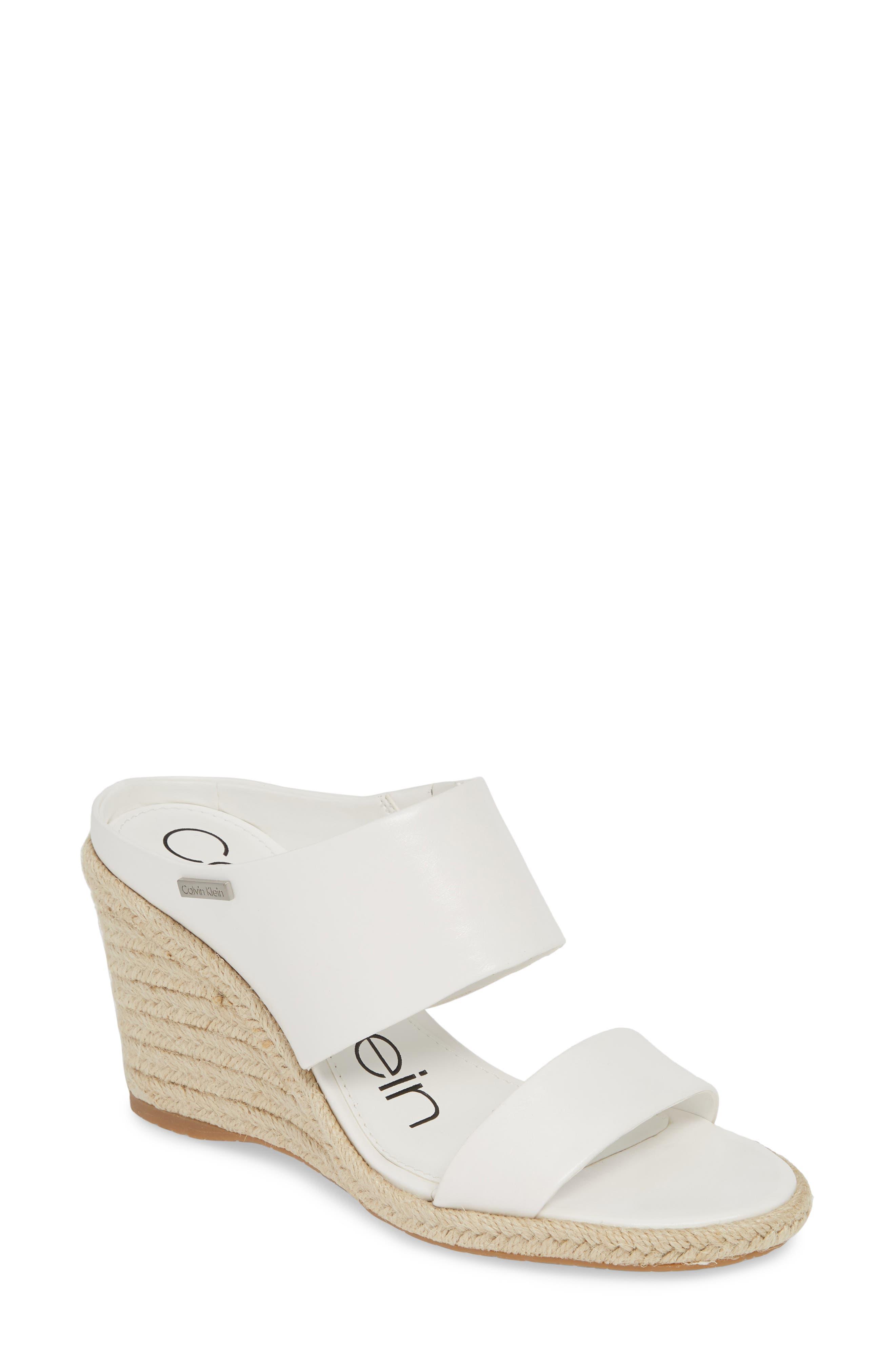 Calvin Klein Brooke Espadrille Wedge Sandal, White