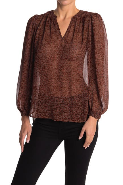 Image of Pleione Split Neck Chiffon Tunic Top