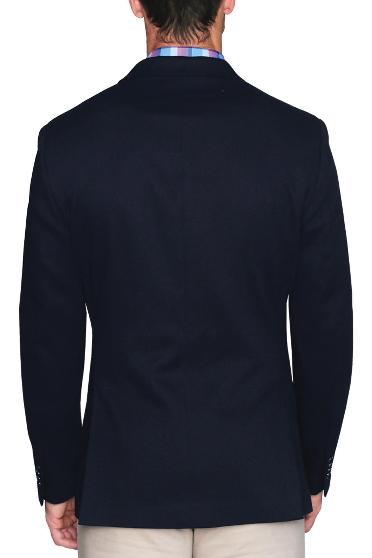 Image of TailorByrd Navy Diamond Textured Two Button Notch Lapel Modern Fit Sport Coat